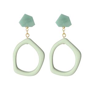 莫蘭迪色系亞克力耳環韓國百搭個性氣質幾何不規則耳墜潮復古耳飾