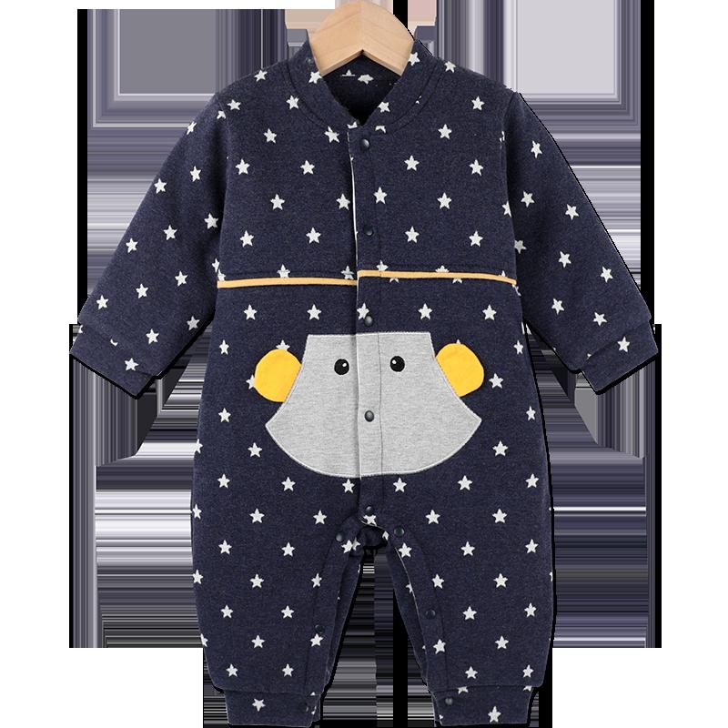 婴儿连体衣秋冬套装加厚男女宝宝冬装夹棉哈衣爬服冬季外出抱衣服