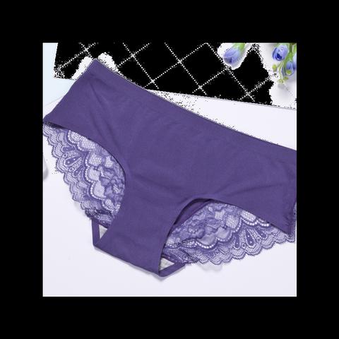 棉无痕女士内裤性感蕾丝中腰少女学生薄款甜美生理透气三角裤