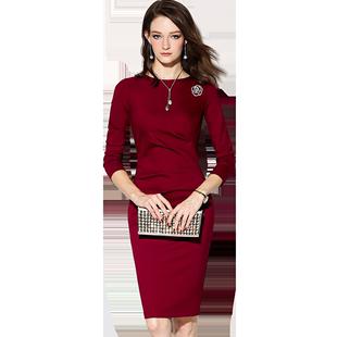 頸袖添香品牌秋冬裝新款時尚OL氣質修身顯瘦包臀職業裝連衣裙女裝