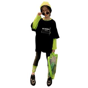 洋氣網紅套裝兒童2020年新款童裝女大童夏裝運動衣服時尚12歲夏季