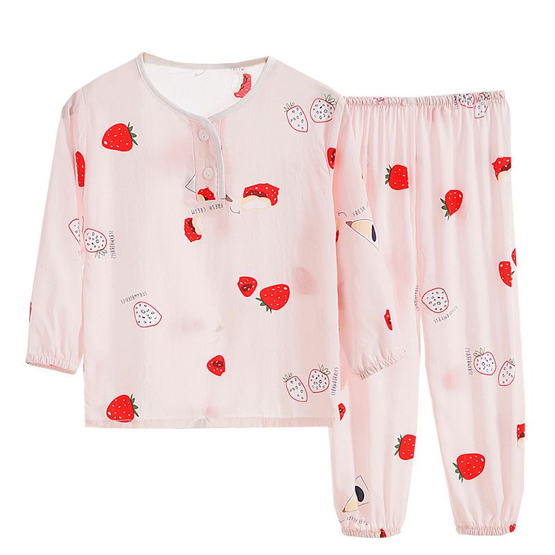 春夏季儿童家居服绵绸睡衣男童女孩棉绸长袖空调服宝宝薄款套装