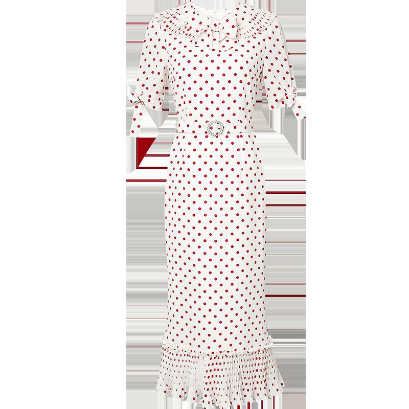 2020夏装新款优雅复古系结收腰显瘦鱼尾摆波点连衣裙女装裙子