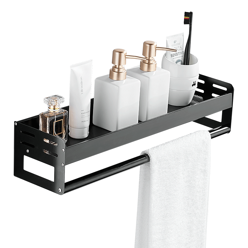 浴室置物架卫生间收纳壁挂架厕所洗漱台卫浴毛巾架子太空铝免打孔
