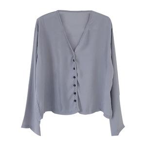 夏薄款轻熟法式复古v领雪纺衬衫