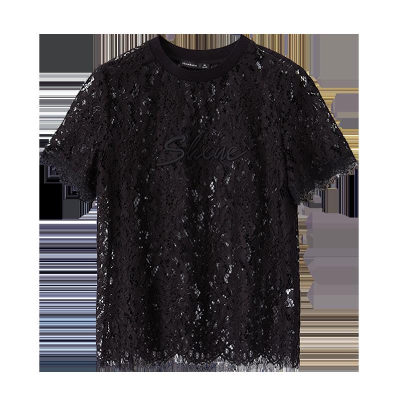 梦芭莎短袖t恤宽松休闲时尚优雅修身黑色绣花蕾丝上衣衬衫春夏白