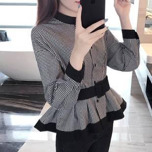 长袖2019春秋新款韩版收腰显瘦衬衣