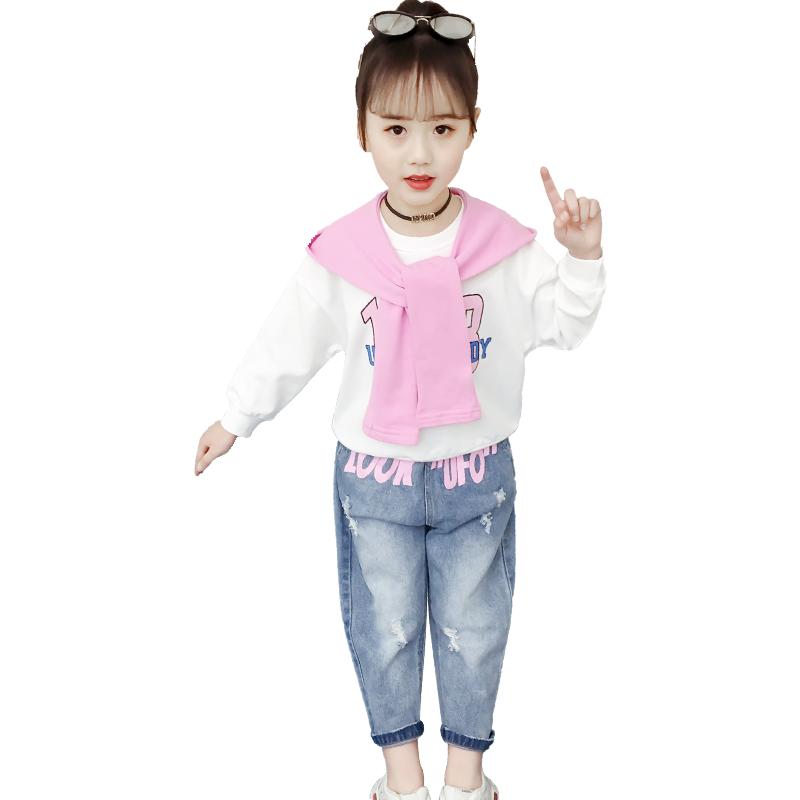 女童春装套装2020新款连帽春季韩版休闲网红儿童时髦中大童三件套