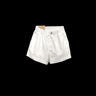 欧货白色牛仔女夏新款宽松阔腿短裤