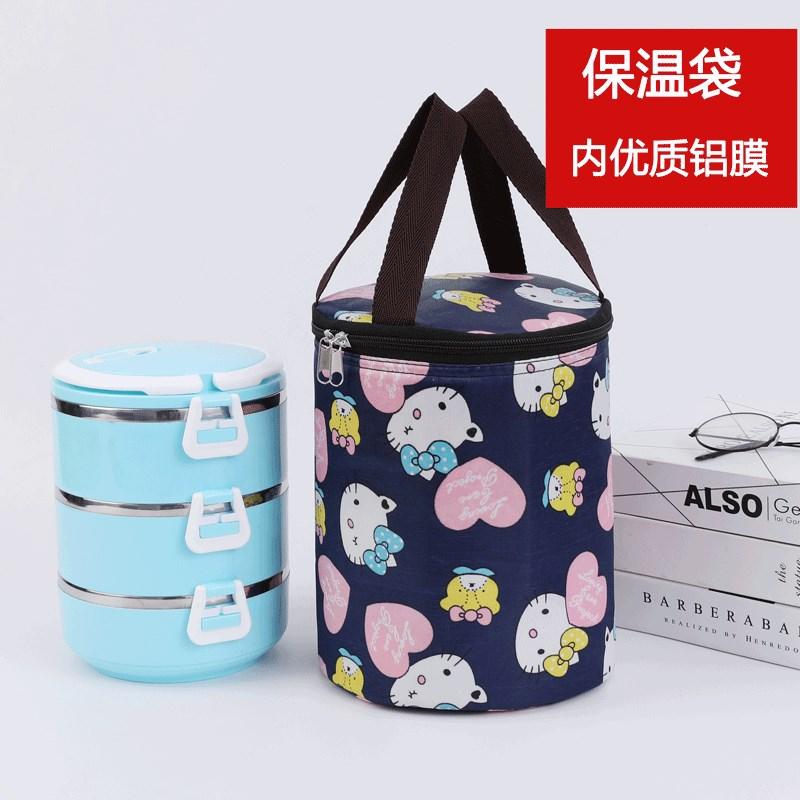 圆形保温饭盒袋圆桶保温桶袋子饭盒手提袋提饭盒的手提包保温袋