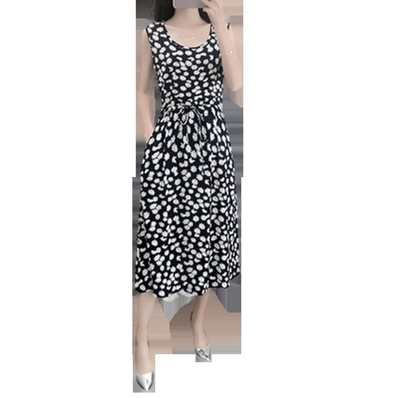 棉绸睡衣女夏天妈妈薄款绵绸睡裙时尚可外穿人造棉连衣裙宽松大码