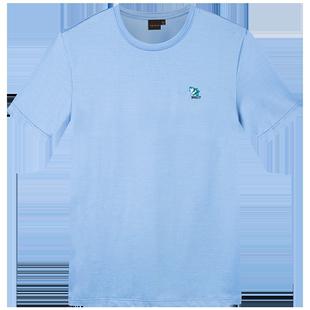 才子男裝短袖T恤男士2020夏季新款個性潮流熊貓刺繡修身簡約體恤