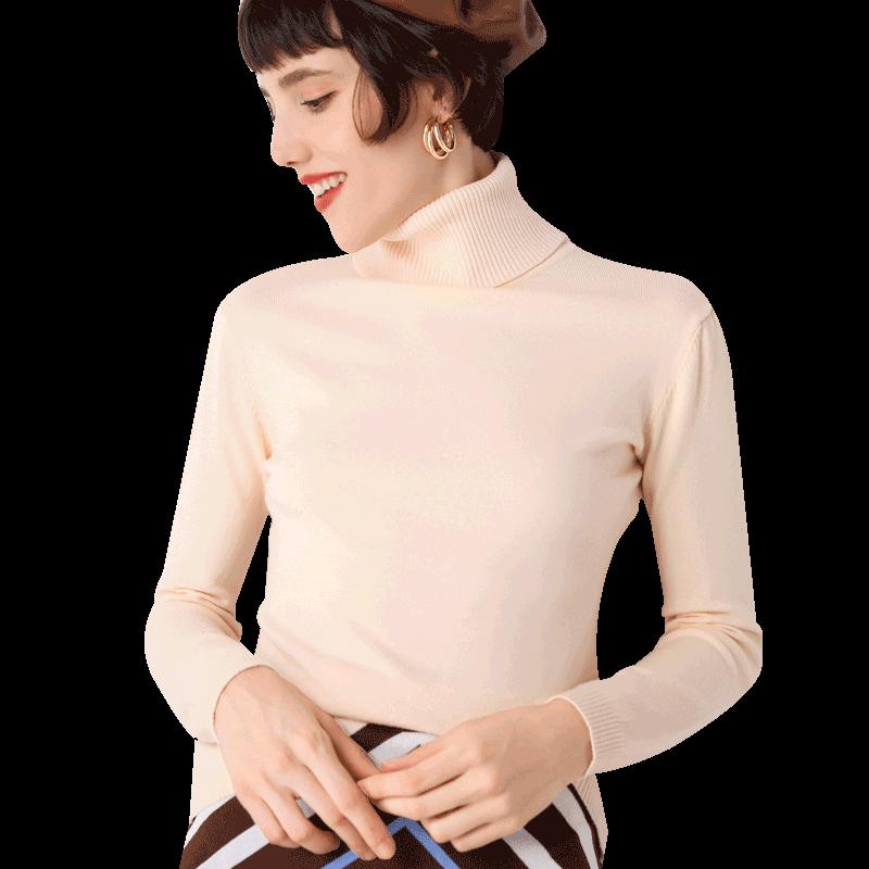 牧都兰高翻领针织衫2019秋冬新款女式修身打底套头长袖纯色毛衣