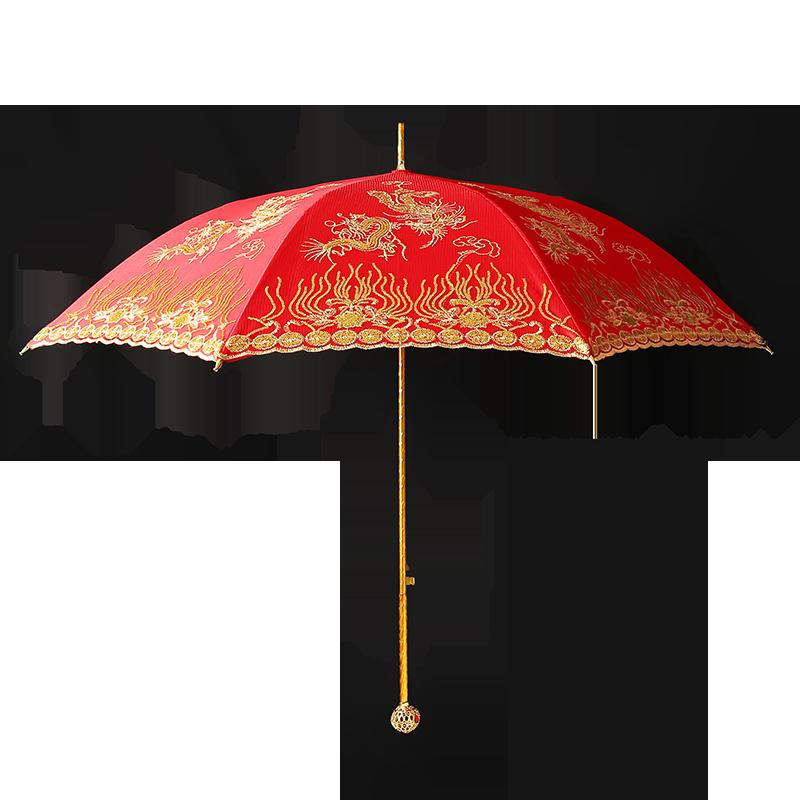 高档结婚红伞婚伞新娘伞红色婚庆用的大红伞中式婚礼红雨伞出嫁