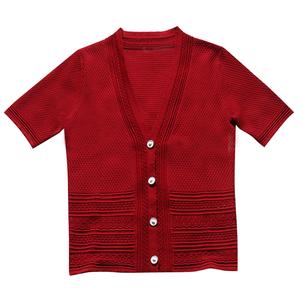 针织短袖短款v领小香风红色空调衫