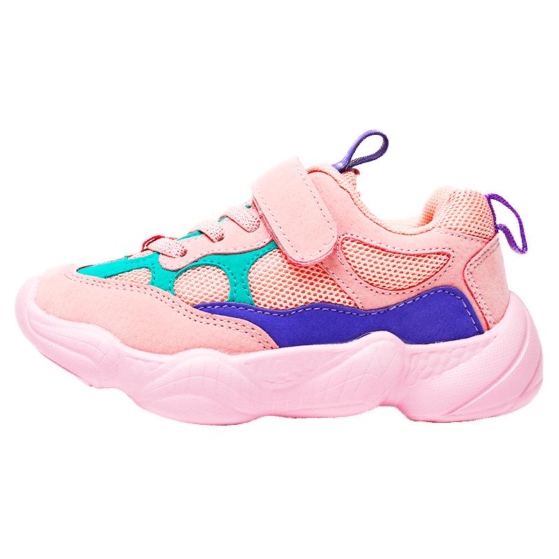 女童运动鞋2019秋冬季新款白色厚网儿童老爹时尚男童女孩小白鞋