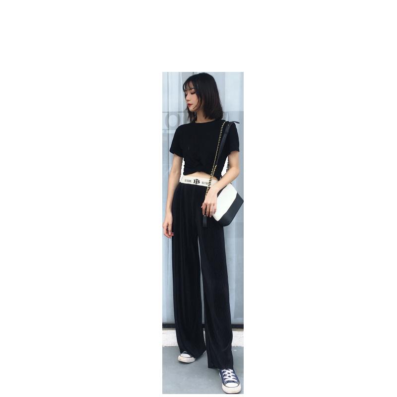 阔腿裤女夏冰丝垂感竖条纹薄款宽松显瘦运动打底直筒裤2019新款夏