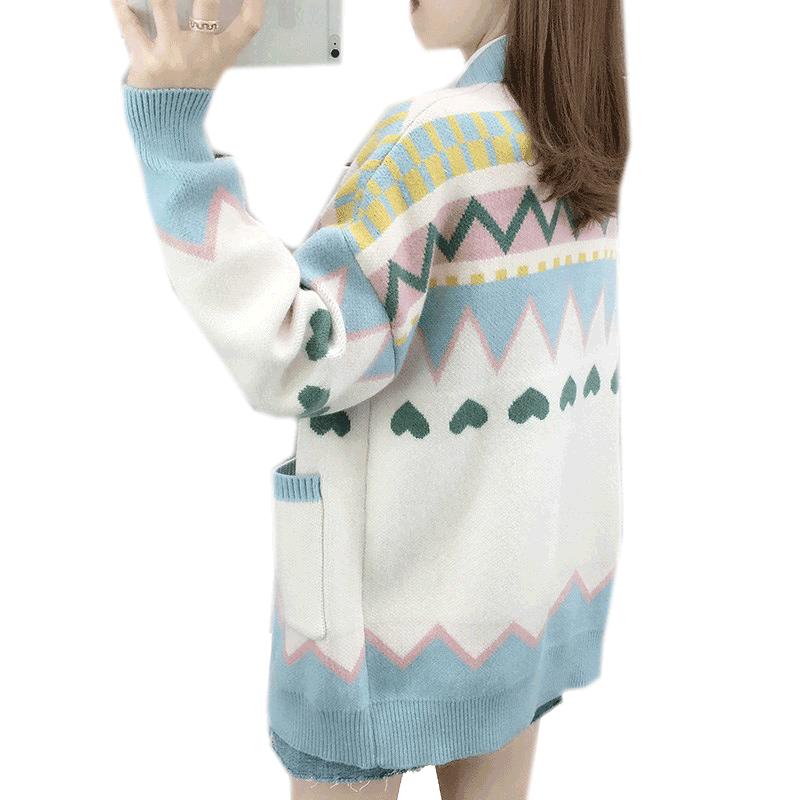慵懒风针织衫女士开衫2020秋冬季新款宽松大码加厚毛衣外套外搭