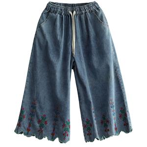 原创花边七分阔腿夏季复古牛仔裤