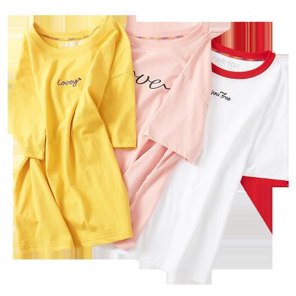 2019新款夏装白色短袖女宽松绿t恤