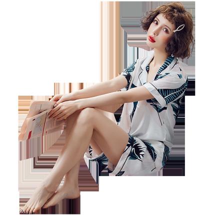 夏短袖丝绸性感夏天女人两件套睡衣
