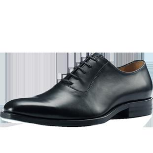 米萊特方頭商務正裝頭層牛皮鞋真皮英倫繫帶男鞋黑色新郎婚鞋大碼