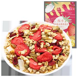 朝花惜时草莓坚果早餐即食燕麦片