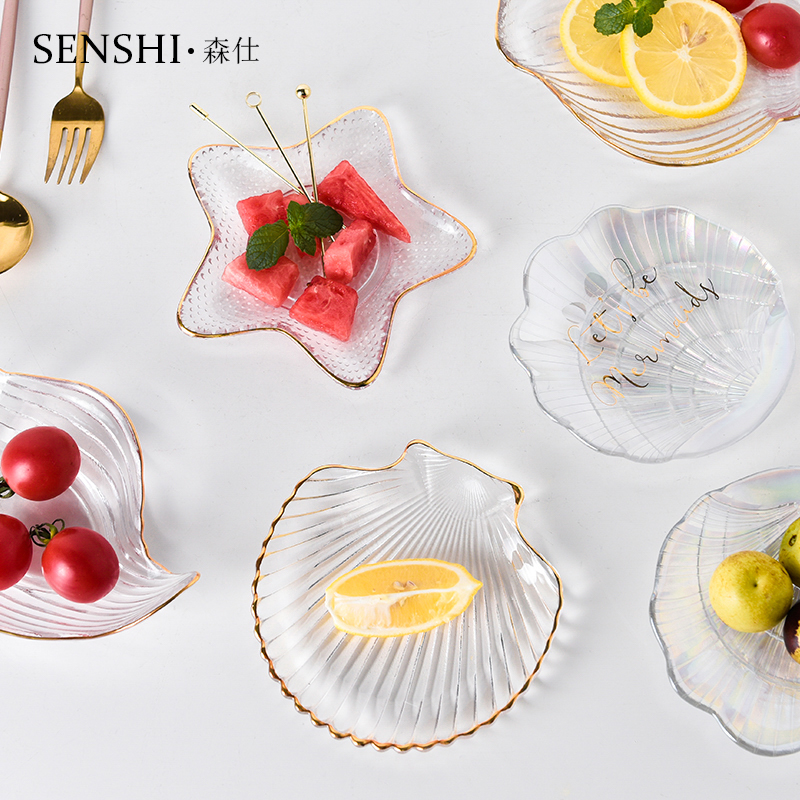 。 Creative Phnom Penh glass ocean scallop and starfish jewelry storage plate ins dessert fruit conch shell
