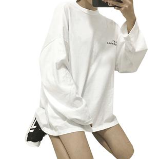 網紅mschf中長款長袖t恤女2020新款春秋季薄款韓版寬鬆外穿上衣服