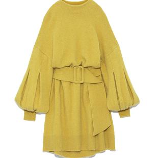 SNIDEL秋冬 甜美可愛燈籠袖收腰羊毛混紡針織連衣裙SWNO185049