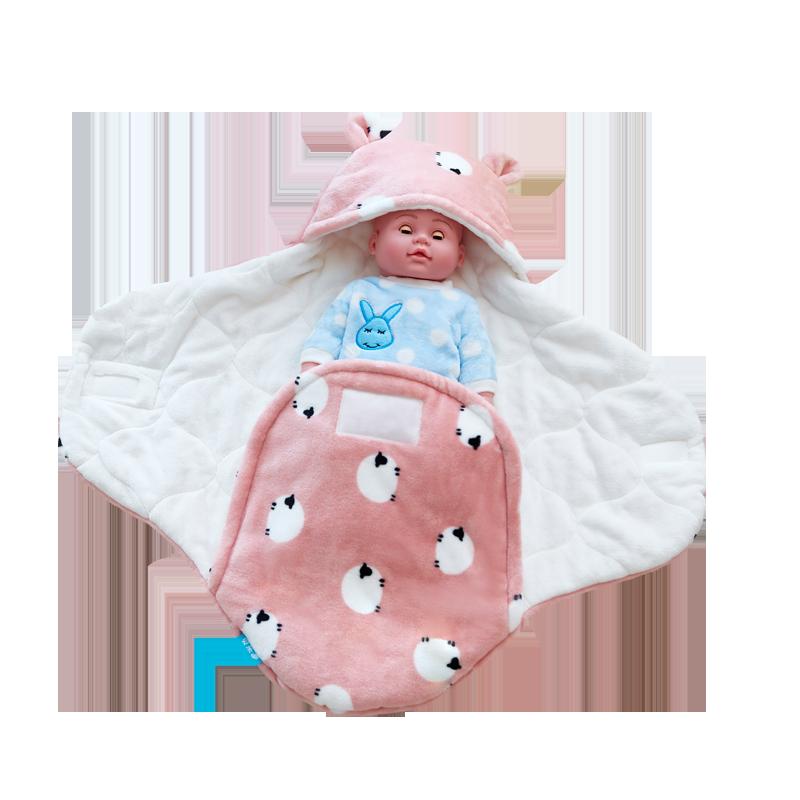贝乐迪新生婴儿抱被初生宝宝法莱绒包被外出两用防惊跳睡袋秋冬厚