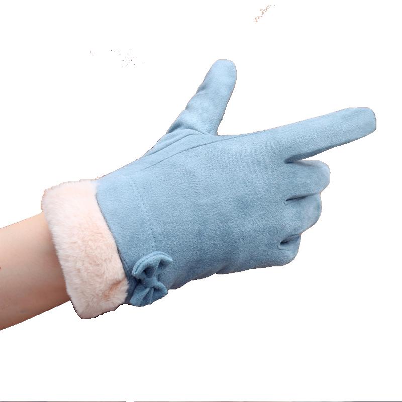 手套女日系甜美蝴蝶结韩版学生秋冬开车骑行外出厚保暖麂皮绒手套