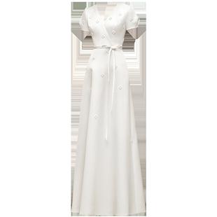 名斕|拾月敬酒服新娘2020新款法式簡約旗袍紅色緞面輕婚紗小禮服