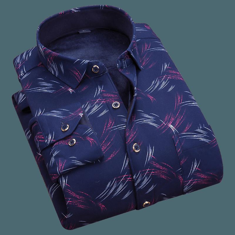 秋冬季男士长袖新款加绒加厚保暖衬衫