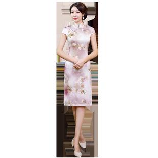 新式旗袍年輕款中國風改良時尚中長款少女2020重磅真絲旗袍桑蠶絲