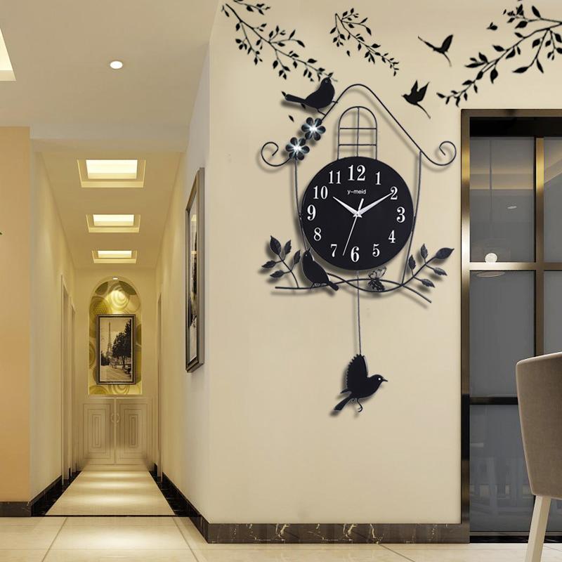 复古挂钟时钟客厅家里房间卧室内屋内理发店墙面墙上小装饰品挂件