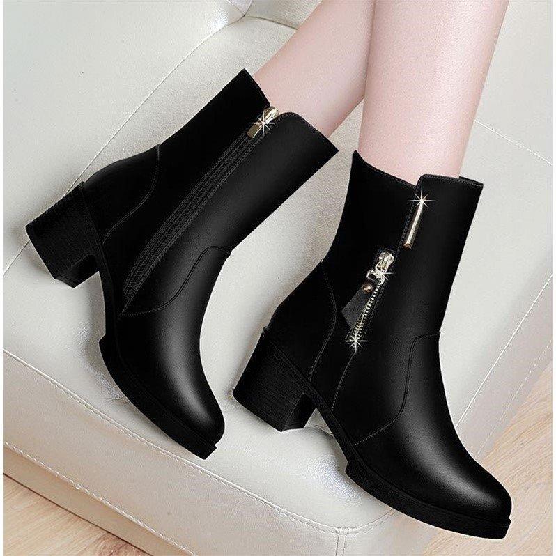 2019韩版新款冬季短靴女鞋粗跟女靴时尚中跟加绒保暖中筒靴防滑潮