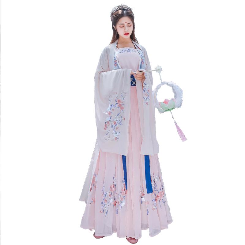 汉服女对襟齐胸襦裙中国风桃夭大袖衫全套超仙飘逸学生日常装秋季