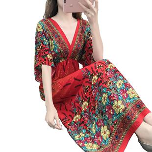 人造棉夏季宽松短袖可外穿连衣裙