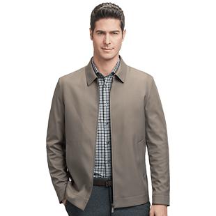羅蒙夾克衫男2020秋季新款商務休閒純色外套中老年翻領爸爸裝上衣