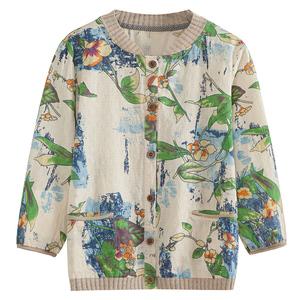 中年夏装洋气印花短款开衫宽松衬衫