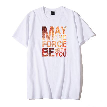 夏季男士创意英文印花潮流宽松t恤