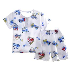 夏季儿童绵绸男童短袖宝宝棉绸睡衣