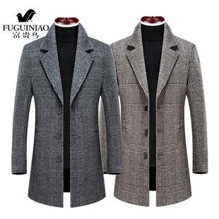 富貴鳥新款羊毛呢大衣男中長款格子秋冬加棉修身英倫風羊毛外套男