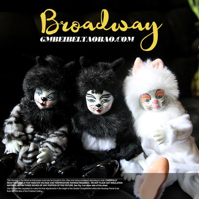 。库存散货 收藏 古董娃娃玩偶公仔 美国百老汇音乐剧 陶瓷猫咪公