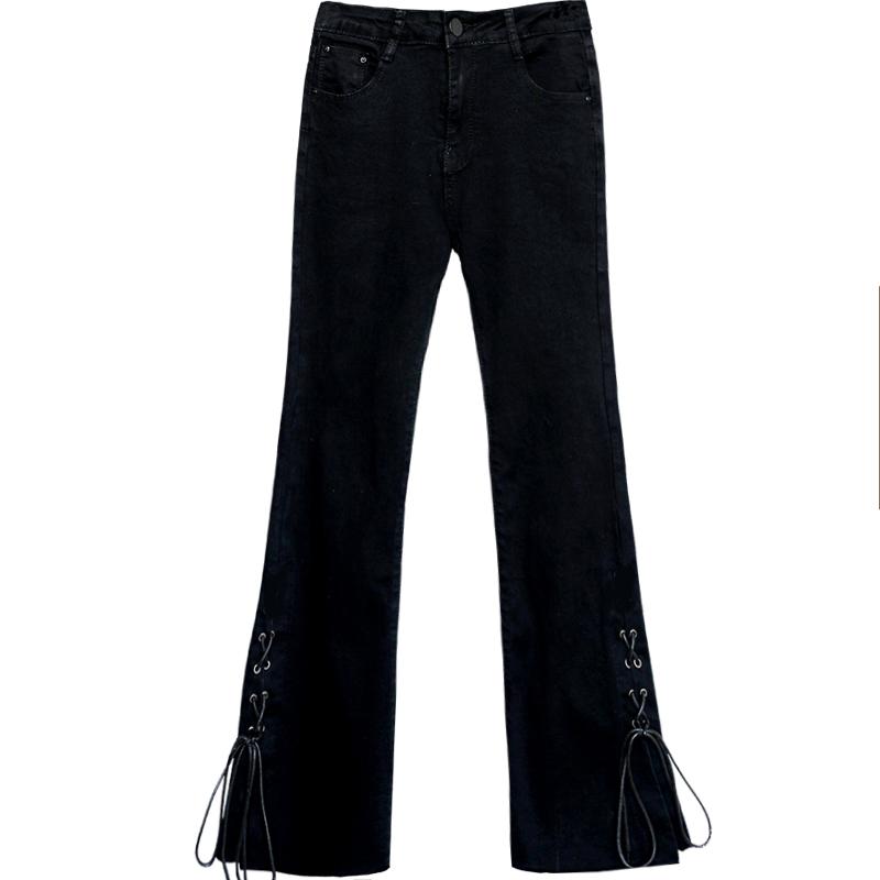微喇九分裤喇叭裤高腰牛仔裤女