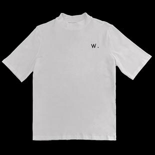 歐洲站2020年女裝歐貨潮半袖白色t恤半高領打底衫女秋冬洋氣內搭