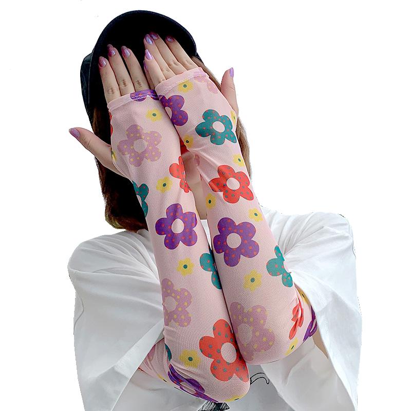 冰袖防晒女泫雅夏季网红可爱手袖护臂手臂套袖冰丝开车神器美少女