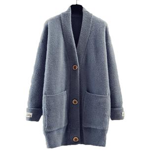 小清新女士秋季新款純色雪尼爾針織開衫寬鬆中長款洋氣毛衣外套