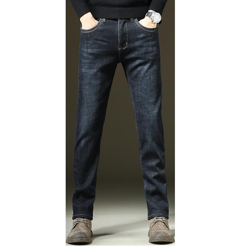冬季新款蓝色加绒加厚修身牛仔裤